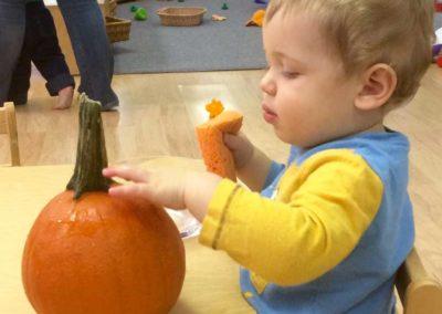 Getting ready for pumpkin washing